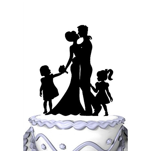 Meijiafei Family Wedding Cake Topper Silhouette Bride And