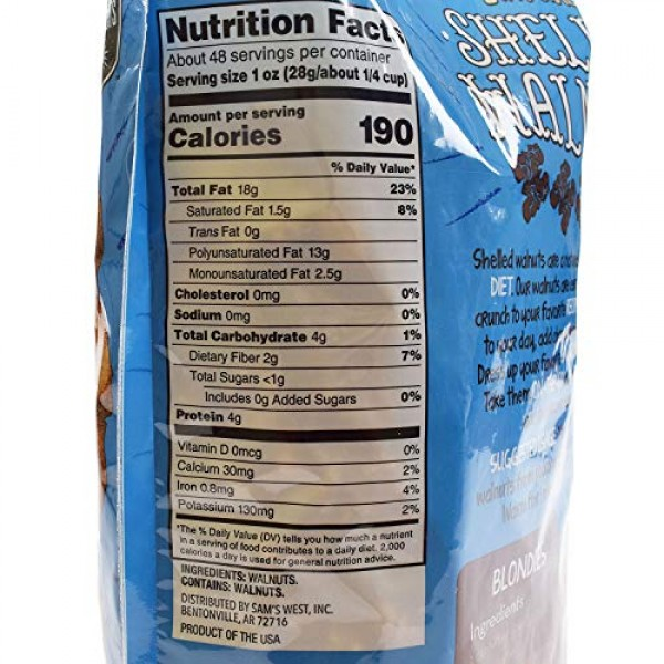 An Item Of Members Mark Natural Shelled Walnuts 3 Lbs. Pack O...