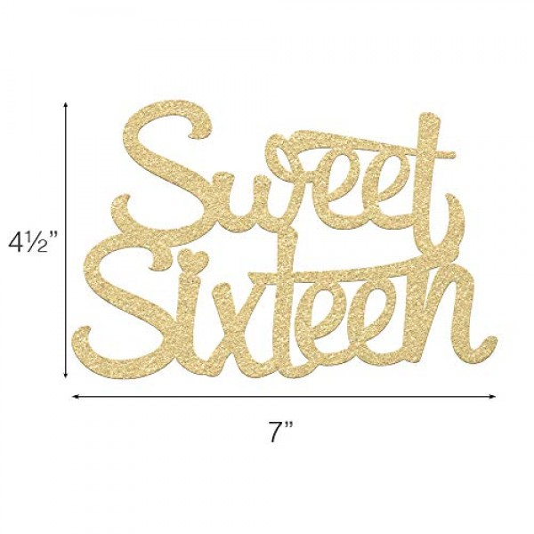 16th Birthday Cake Topper - SWEET SIXTEEN - 7 x 4.5 Double Sid...