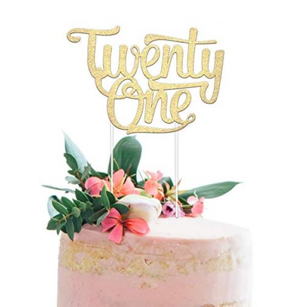 21st Birthday Cake Topper - Twenty One - 7 x 5 Double Sided Ch...