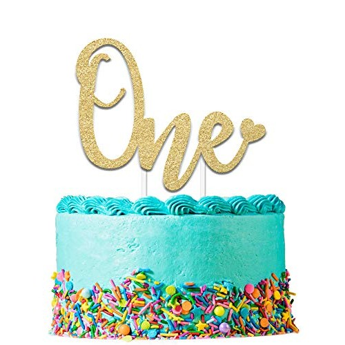 1st Birthday Cake Topper Decoration ONE - 6.25 x 4.25 First Bd...