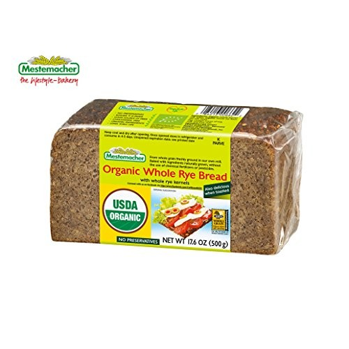 Mestemacher Organic Whole Rye Bread 17.6 Oz Pack of 6