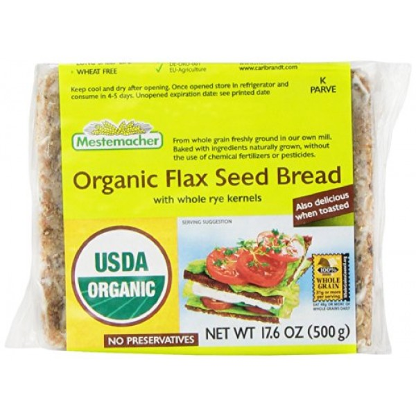 Mestemacher Bread, Organic Flaxseed, 17.6 Ounce Units Pack of 12