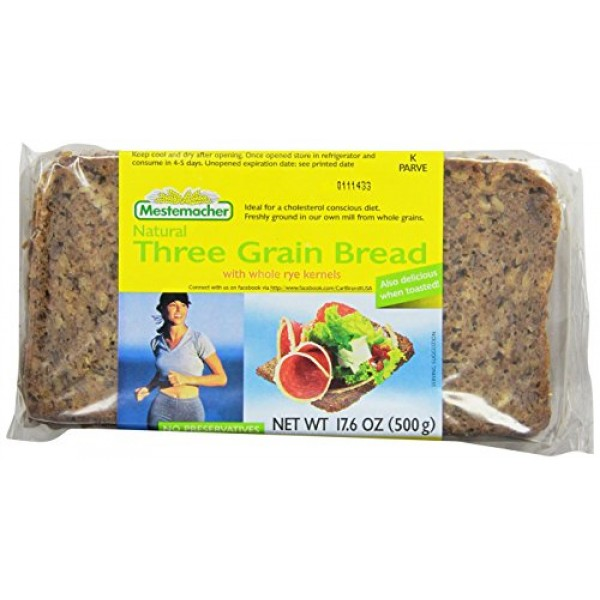 Mestemacher Bread, Three Grain, 17.6-Ounce Packages Pack of 12