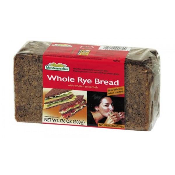 Mestemacher Whole Rye Brd - 17.6 ounce each - 12 per case.