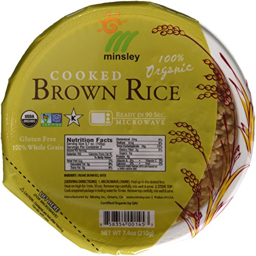 Minsley Cooked Brown Rice Bowl, 100 Percent Organic, Microwave R...
