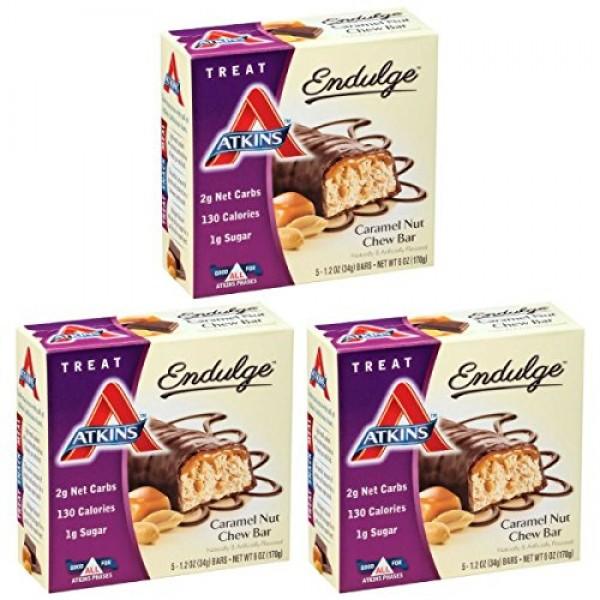 Atkins Endulge Treat, Caramel Nut Chew Bar, 1.2 Ounce, 5 Count ...