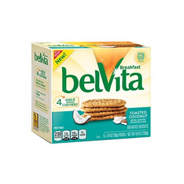 Belvita Breakfast Biscuits, Toasted Coconut, 8.8 Ounce Pack of 2