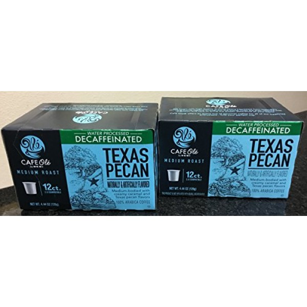 Cafe Ole Texas Pecan DECAF k-cup coffee 12. cts. Pack of 2