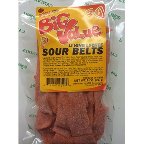 Enjoy Hawaii Li Hing Mui Lychee Sour Belts Big Value 8 oz. Bag
