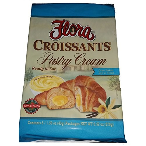 Flora Croissants Pastry Cream, Filled and Ready to Eat, Oven Bak...