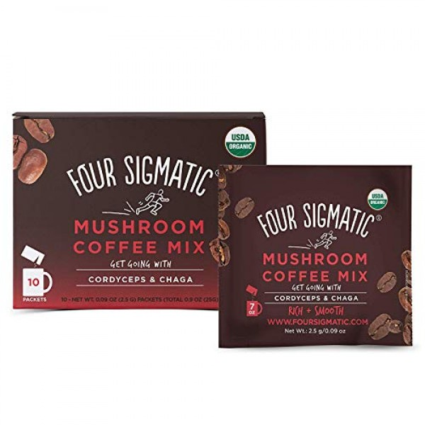 Four Sigmatic Mushroom Coffee, USDA Organic Coffee with Cordycep...