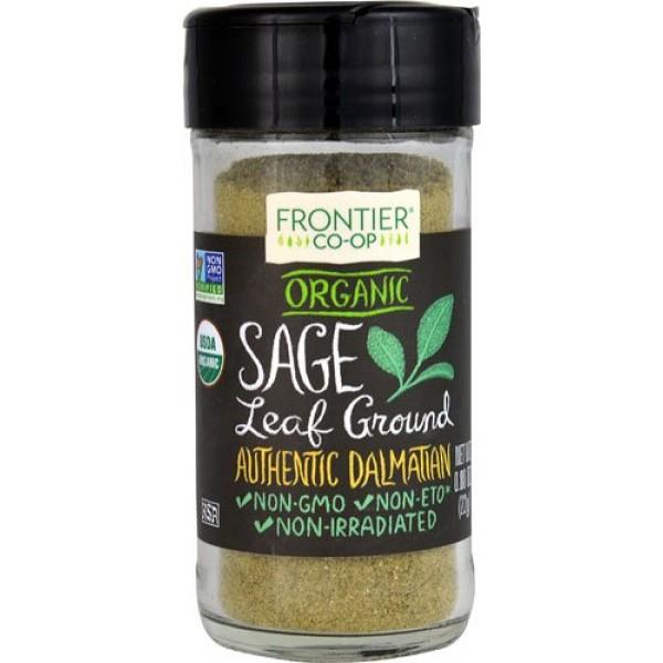 Frontier Co-Op Organic Sage Leaf Ground -- 0.8 oz - 2 pc