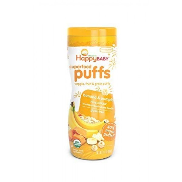 Happy Baby Organic Superfood Puffs, Banana & Pumpkin, 2.1 Ounce ...