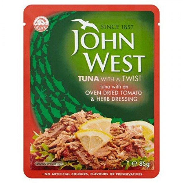 John West Tomato & Herb Tuna Pouch 85g - Pack of 6