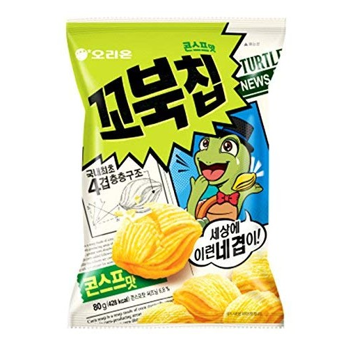 Korean Orion New Four Layers Turtle Chip Corn Soup Flavor 2 Pack