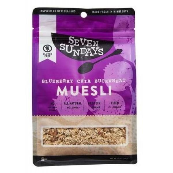 Seven Sundays Muesli - Blueberry Chia Buckwheat - 12 oz Pack of 6