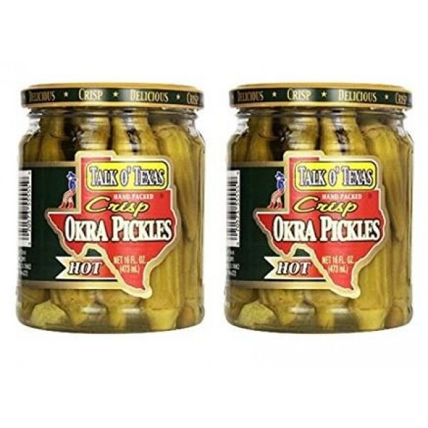 Talk O Texas Okra Pickles, Hot, 16 oz Pack of 2