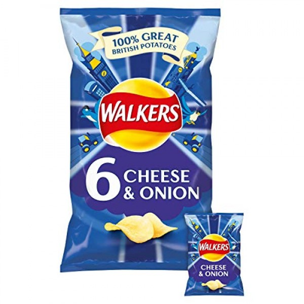 Walkers Crisps - Cheese & Onion 6x25g