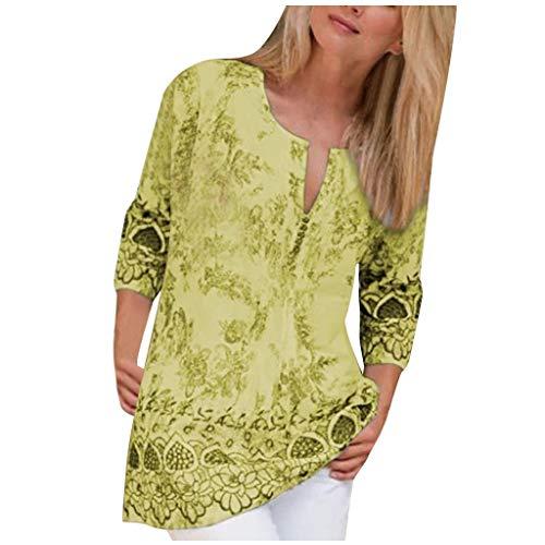 Mlide Womens Summer Print Blouse Boho 3/4 Sleeve V-Neck Plus Siz...