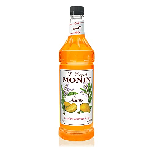 Monin Flavored Syrup, Mango, 33.8-Ounce Plastic Bottle 1 liter
