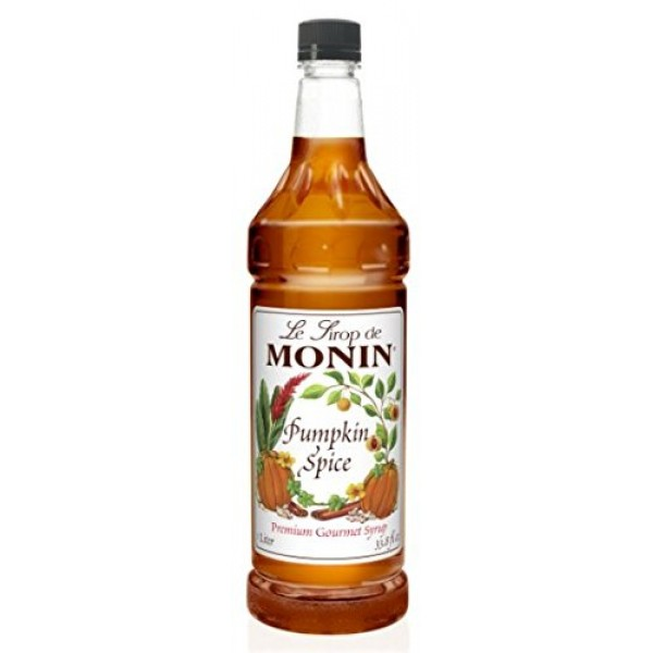 Monin Pumpkin Spice Syrup, 33.8-Ounce Plastic Bottle 1 liter