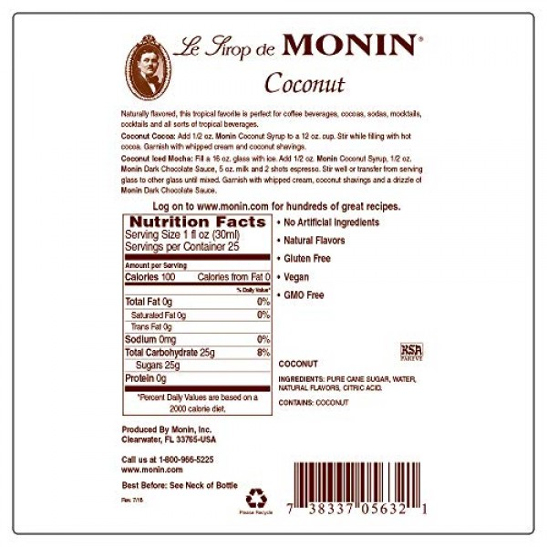 Monin - Coconut Syrup, Sweet and Rich, Great for Cocktails and S...