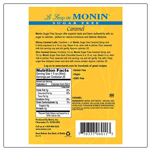 Monin Sugar Free Caramel Syrup Mild And Sweet Great For
