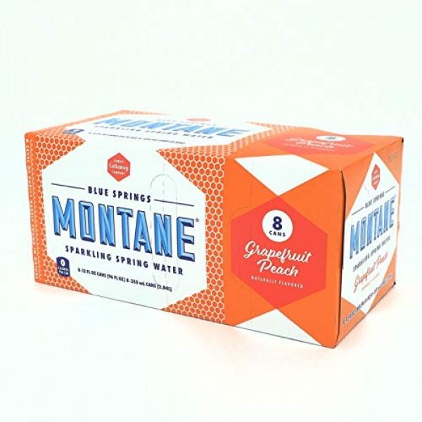 Montane, Grapefruit Peach Sparkling Spring Water, 12 Fl Oz, 8 Pack
