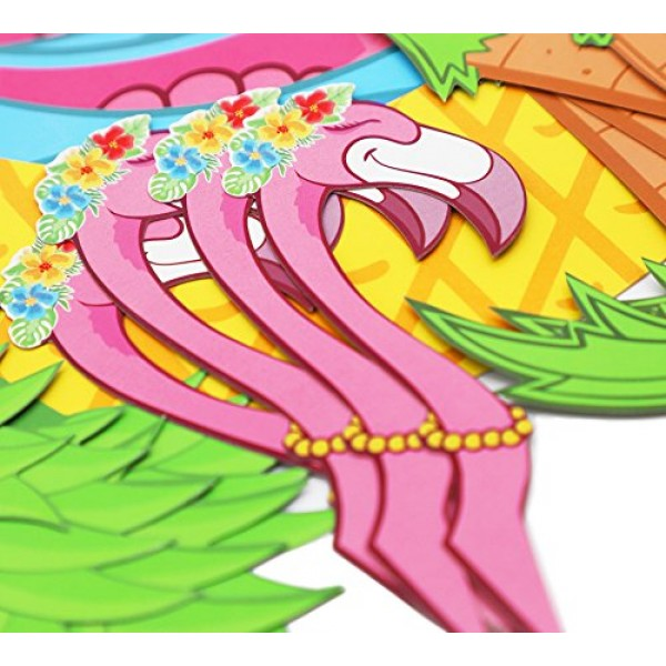 45 PCS Flamingo/Pineapple/Palm Cupcake Toppers Wrappers - Luau T...