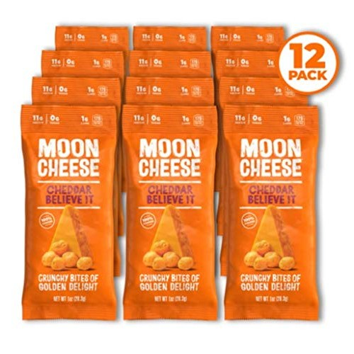 Moon Cheese Cheddar Believe It, 100% Cheddar Cheese Snacks, Crun...