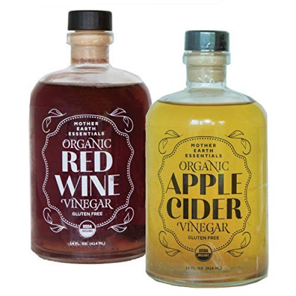Mother Earth Org Apple Cider & Red Wine Vinegar with The Mother,...