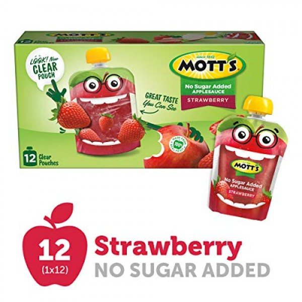 Motts No Sugar Added Strawberry Applesauce, 3.2 Ounce Clear Pou...