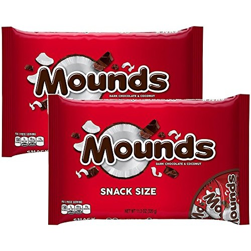 Mounds Candy Bars, Snack Size, 11.3-Ounce Bag Pack of 2