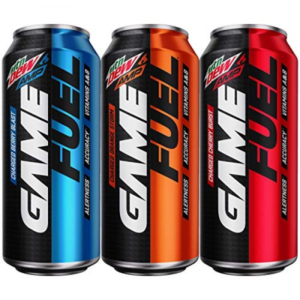 Mountain Dew AMP GAME FUEL, 3 Flavor Variety Pack, 16 fl oz. can...