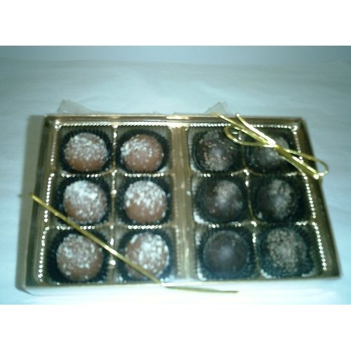 Champagne and Rum Chocolate Flavored Truffles Gift Box 12 Pcs