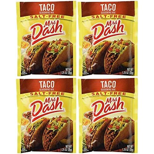 Mrs Dash Salt Free Taco Seasoning Mix 1.25 oz Packets 6 Pack