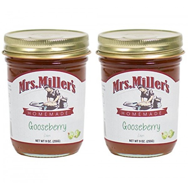 Mrs. Millers Amish Homemade Gooseberry Jam 9 Ounces - Pack of 2