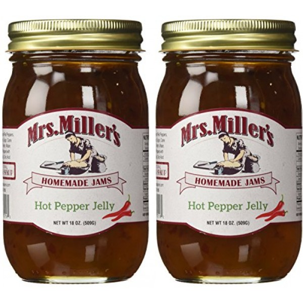 Mrs. Millers Amish Homemade Hot Pepper Jelly - 18 oz 2 JARS- ...