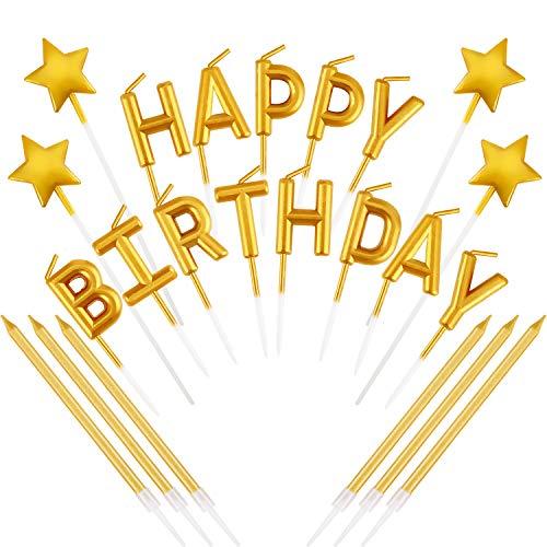 Mudder 23 Pieces Gold Happy Birthday Candles Star Birthday Cake ...