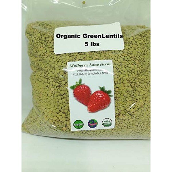 Green Lentils 5 lbs five pounds USDA Certified Organic, Non-GM...