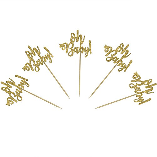 Set of 24 Gold Glitter Oh Baby Cake Cupcake Toppers Picks for We...
