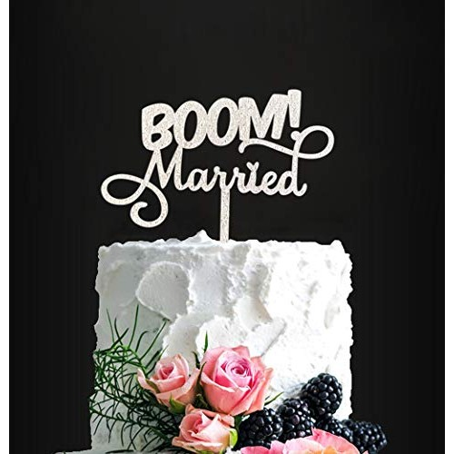 BOOM! Married Wedding Cake Topper, Silver Glitter Funny Cake Top...