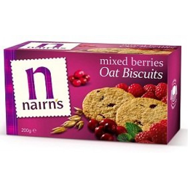 Nairns Oat Biscuits, Mixed Berries, 7.1-Ounce Boxes Pack of 6