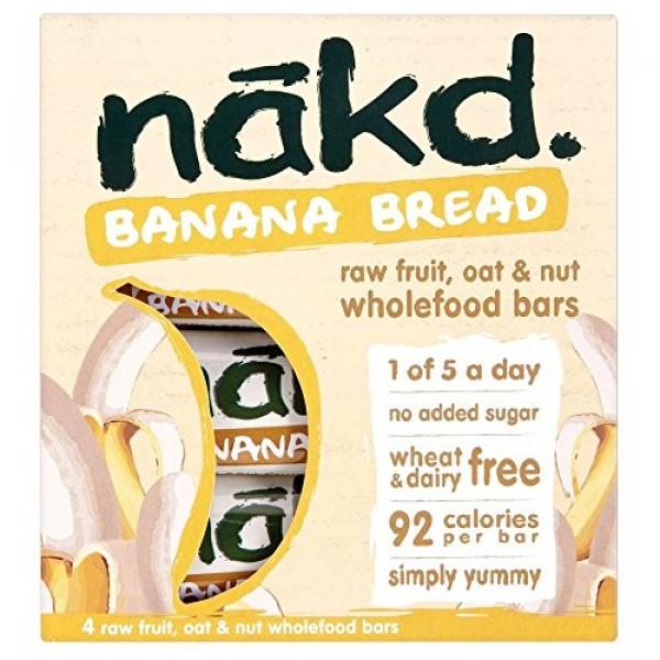 Nakd Banana Bread Raw Fruit, Oat & Nut Wholefood Bars 4x30g