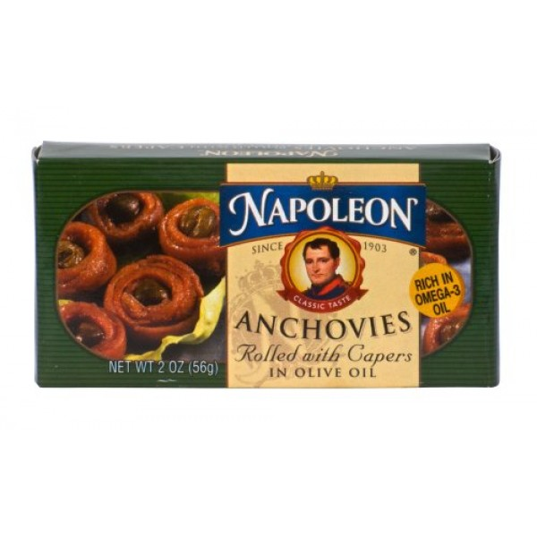 Napoleon ANCHOVIES ROLLED WITH CAPERS in Olive Oil 2oz 3 Pack