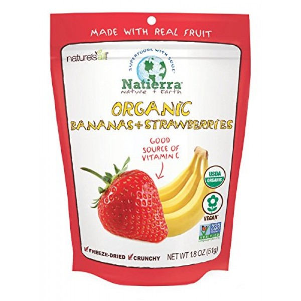 NATIERRA Natures All Foods Organic Freeze-Dried Bananas and Str...