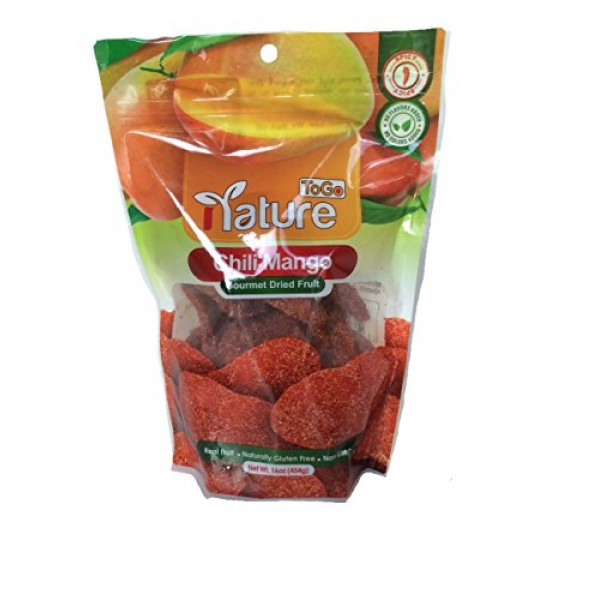 Gourmet Dried Chili Mango, Net Wt 16oz, Spicy, Real Fruit, Natur...