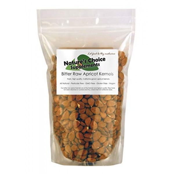 Bitter Apricot Kernels, 1 pound, 750 Raw Apricot Seeds, 100% All...