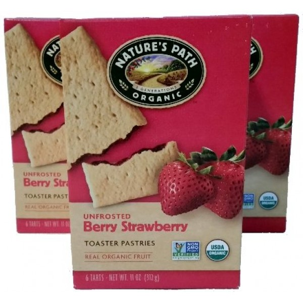 Bundle of 3 Natures Path Organic Unfrosted Berry Strawberry Toa...